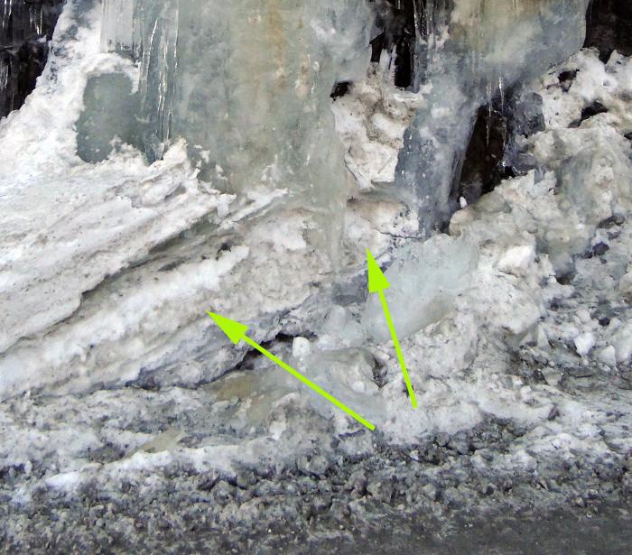Estrato de nieve en la base de la casdada
