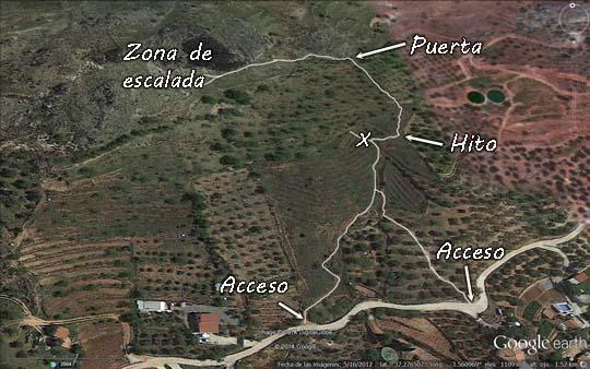 Cogollos Vega acceso zona escalada